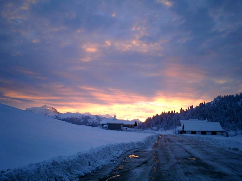 lever de soleil au col des Aravis