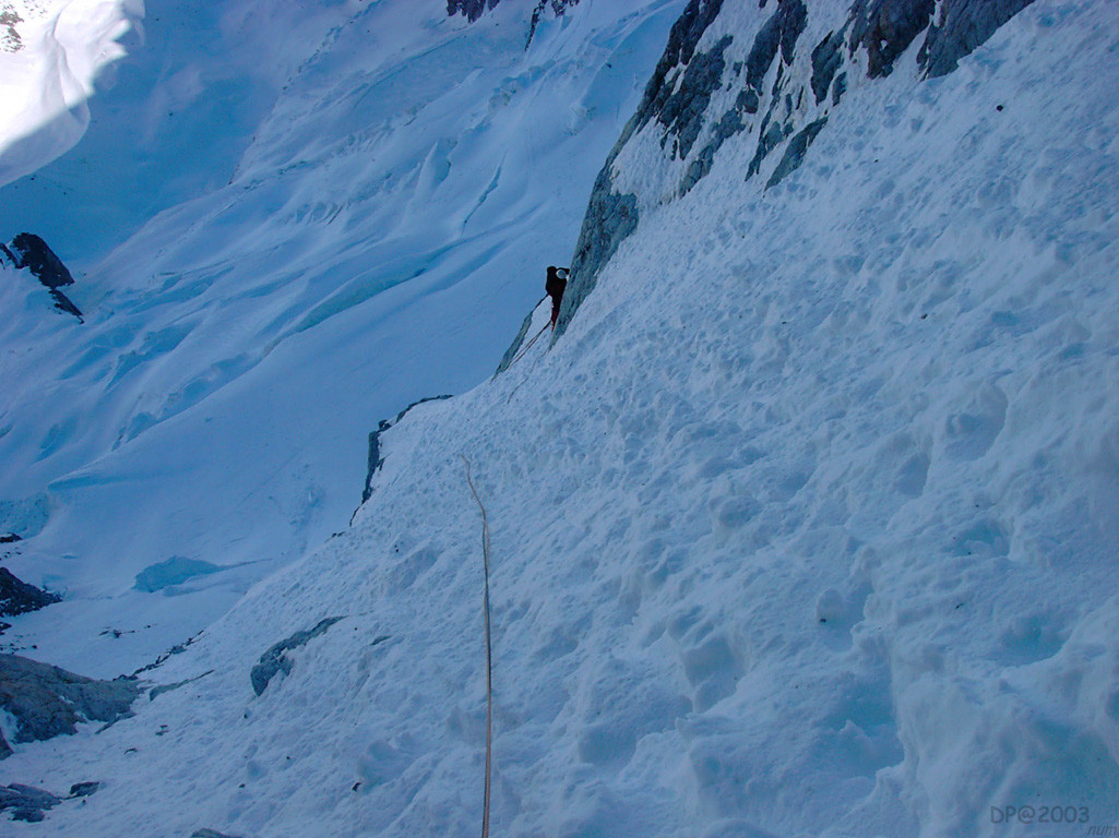 Couloir  Allera-Pelatan : vue sur le glacier du Rateau