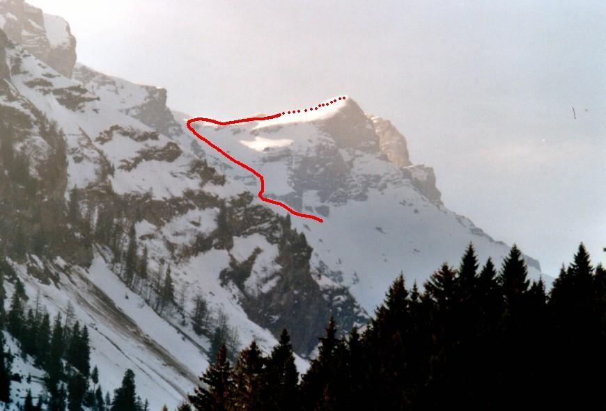 Pointe des Martinets, versant N: itinéraire