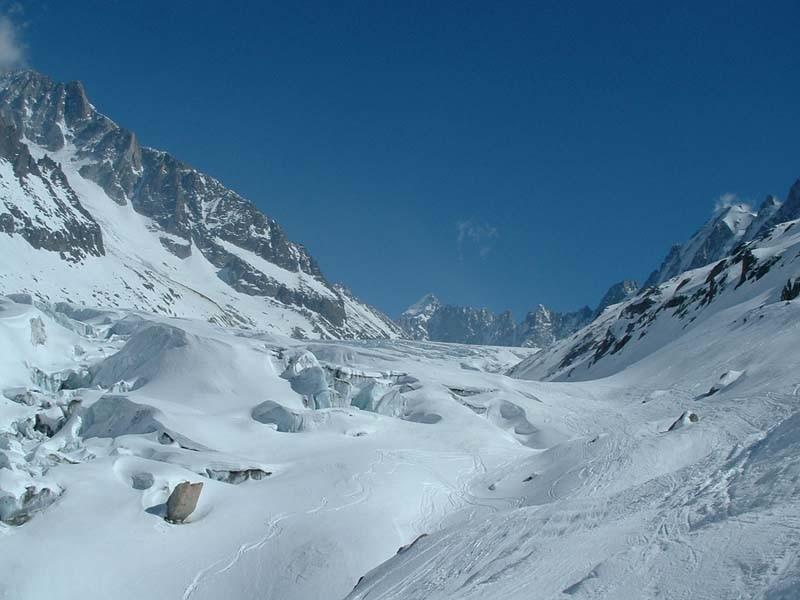 Un dernier coup d'oeil au glacier d'Argentière en redescendant