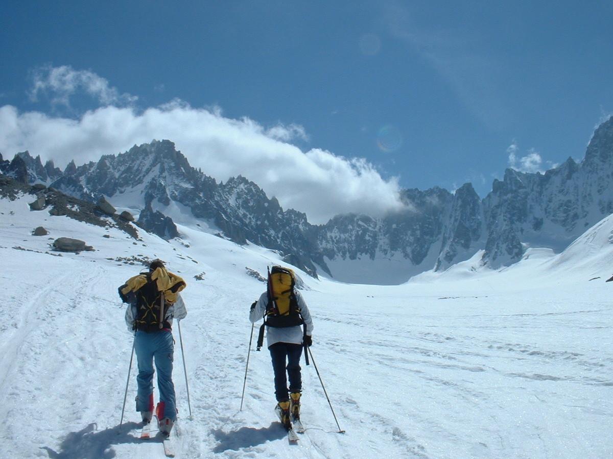 Bassin d'Argentière : montée sur le glacier