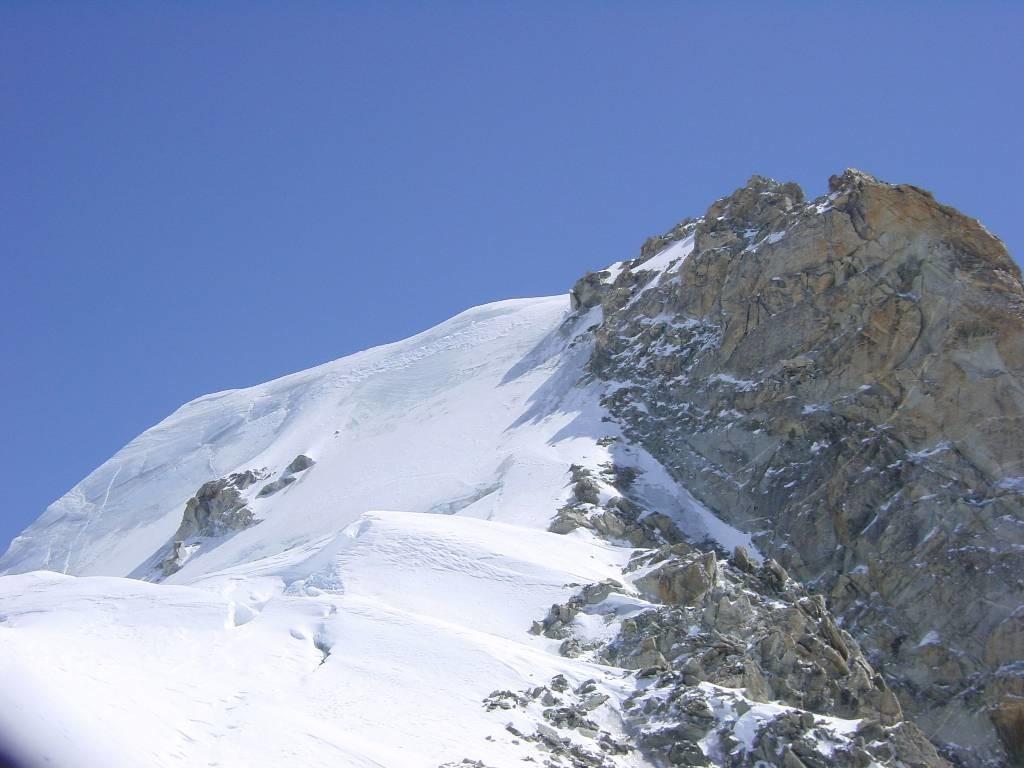 Passage ds la face N d'argentière sous le sommet