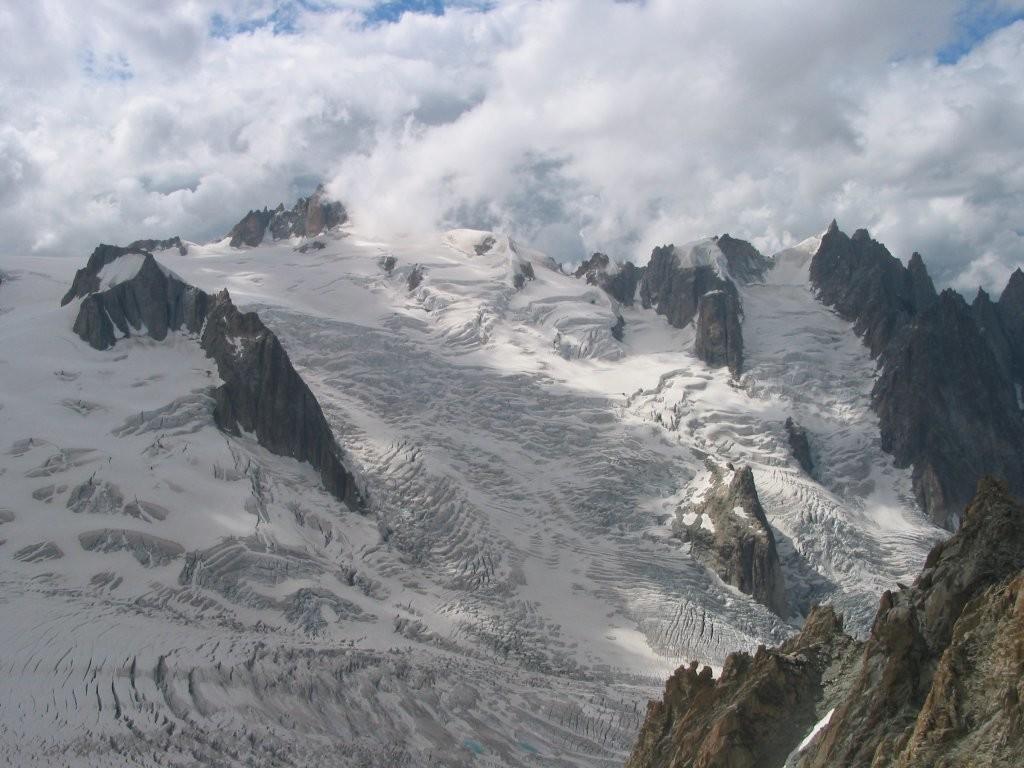 Aiguille du midi, gros Rognon, vallée blanche et glacier d'Envers du Plan