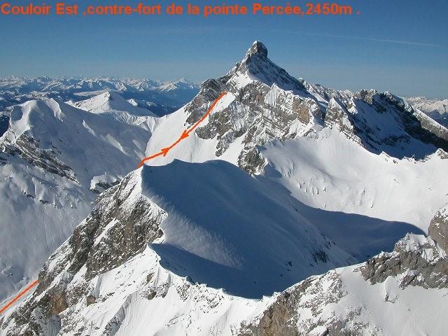Couloir Est,contre-fort de la pointe Percée,2450m.