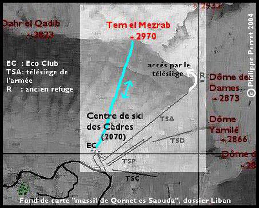 carte itineraire Tem el Mezrab