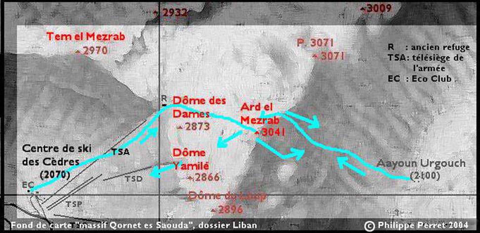 carte itineraire Ard el Mezrab