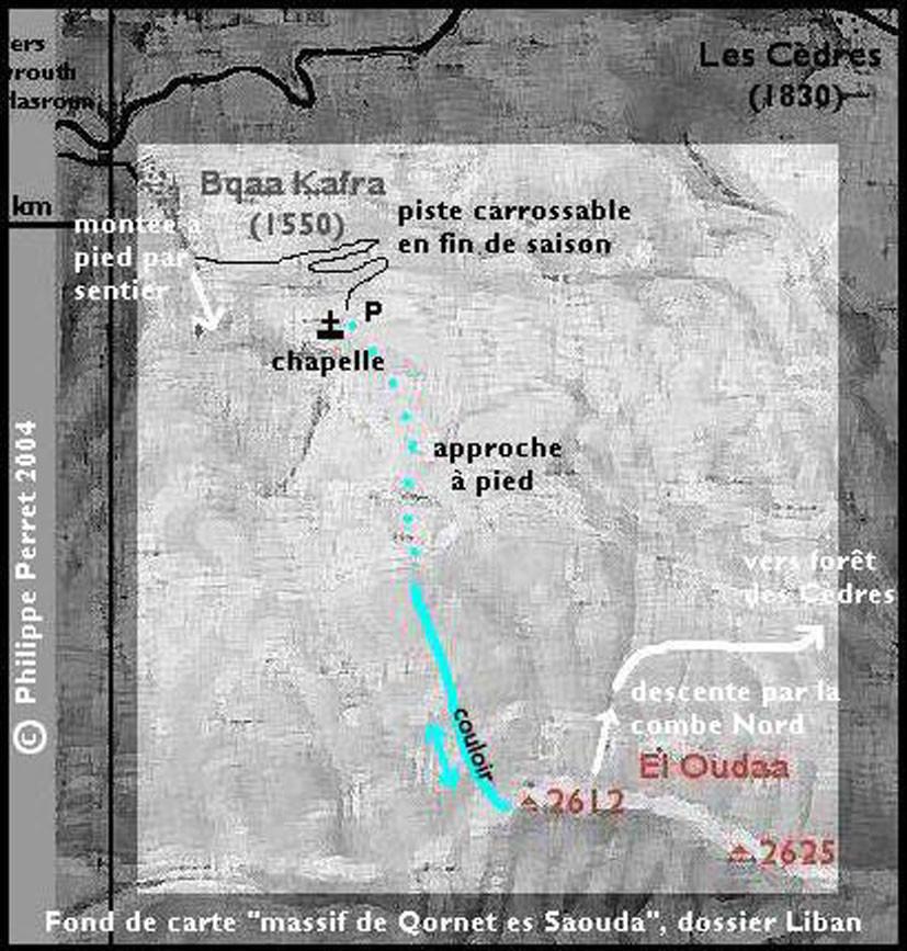 "carte itineraire, couloir ""Daphne"" face N/NW de El oudaa"