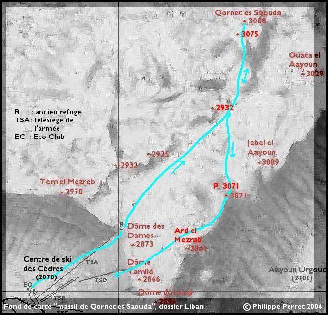 Carte itineraire Qornet es Saouda