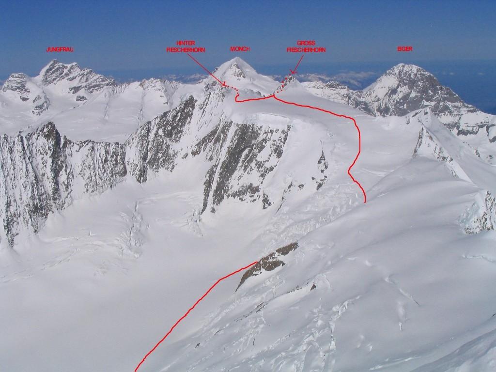Fiescherhorn : itinéraire versant E