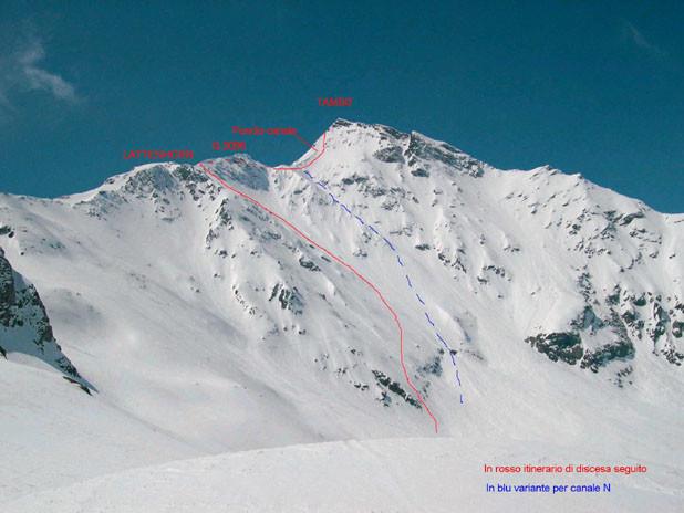 La parete N del Tambò vista dalla quota 2498m.