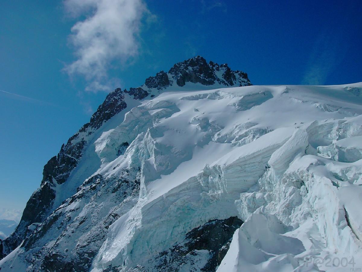 Mont Pelvoux : serac du Glacier des Violettes et couloir Chaux