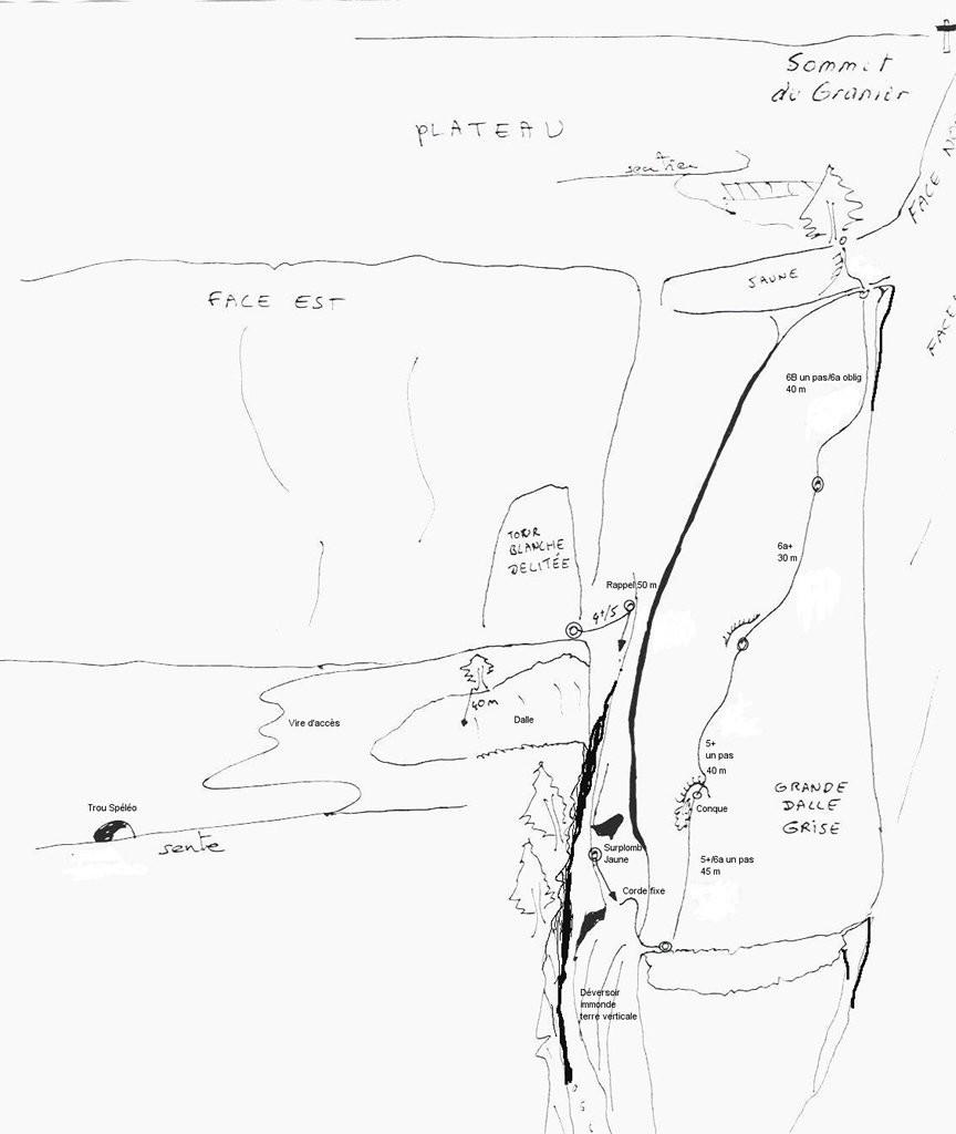 Topo de la voie du CAF en face E du Granier (Chartreuse)