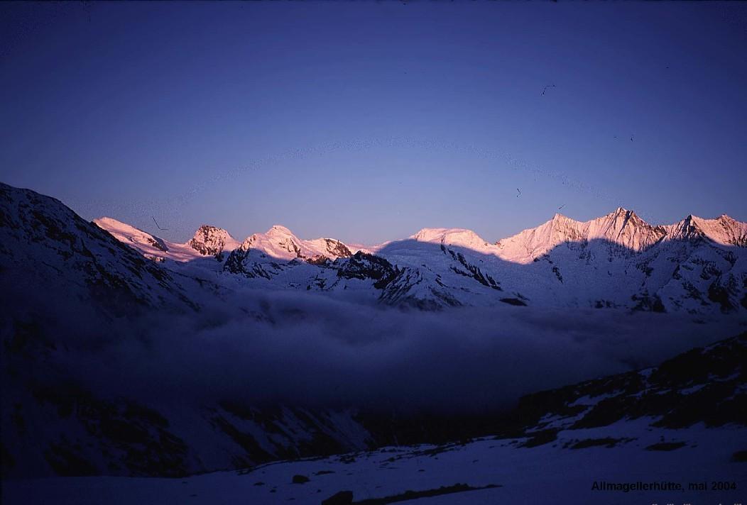 Vue sur les Mischabel depuis l'Allmagellerhütte