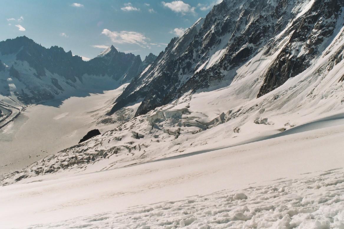 En descendant des Grands Montets vers le Glacier d'Argentière