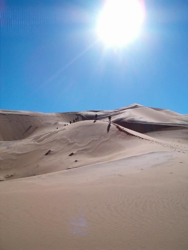Progression dans les dunes