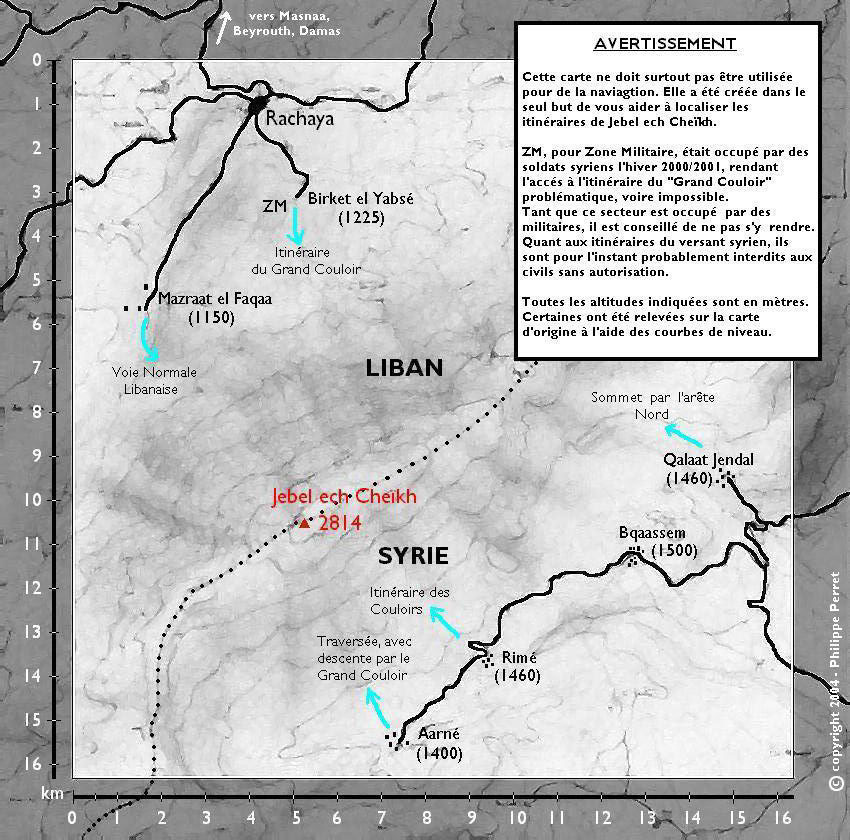 Carte des itineraires de Jebel ech Cheikh