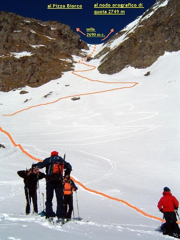 Il canale di accesso al Pizzo Biorco.