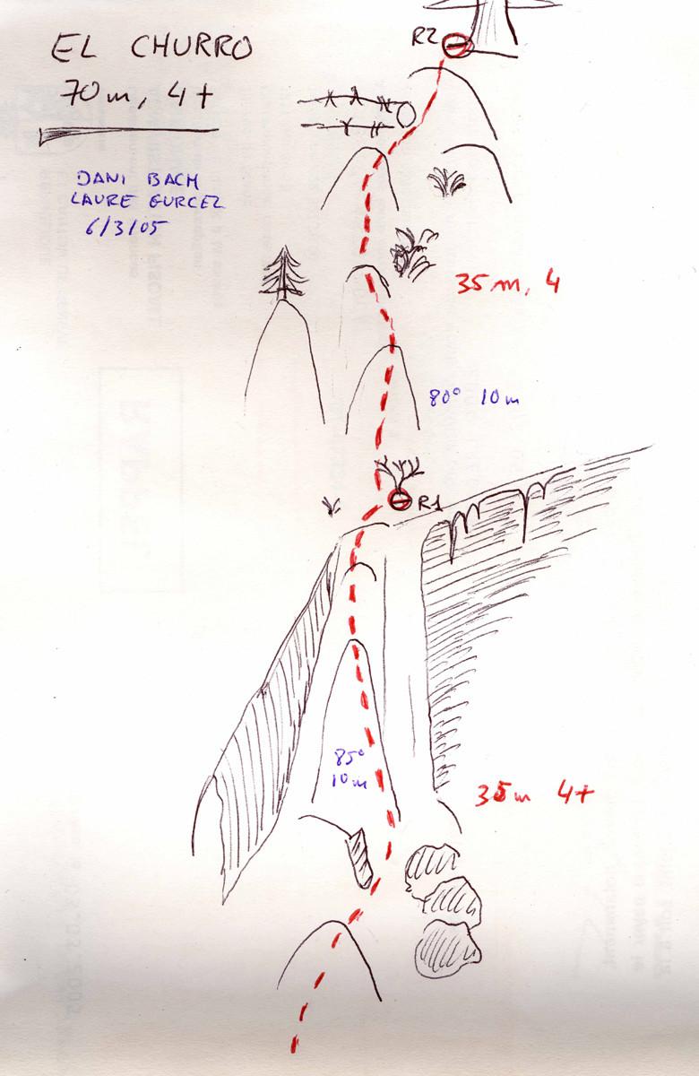 El Churro (70 m, 4+). Cascade de St.Christophe d'Oisans