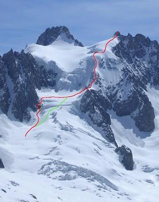 Itinéraire Pointe Isabelle par faible enneigement (rouge) ou par bon enneigement (vert)