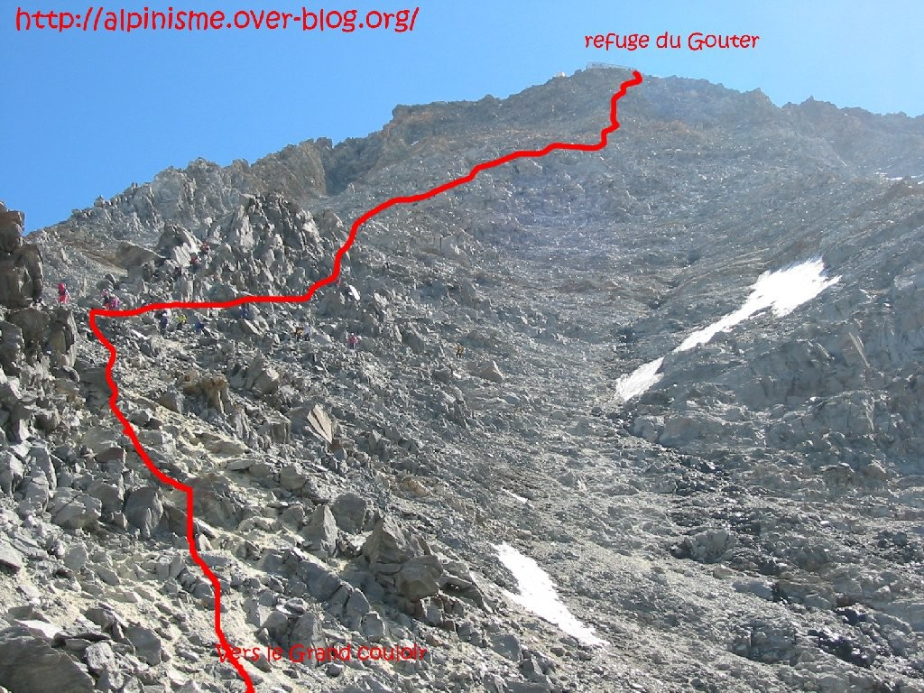 Topo Mont Blanc par l'arête des Bosses : Sous le refuge du Goûter
