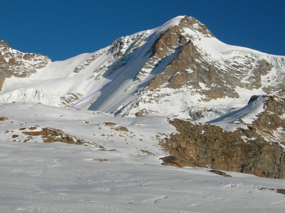 La face nord ouest du Gran Paradiso et la voie Bertolome