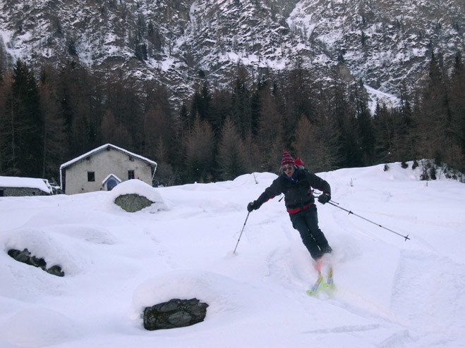 Mont Flassin ; discesa nel bosco