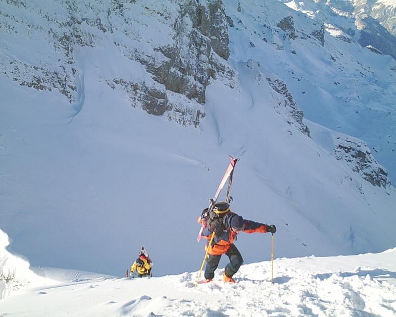 La parte finale del tratto attrezzato sotto la cima del Bluemberg