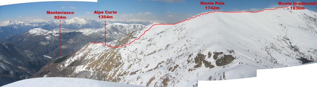 La salita al Gradiccioli vista dal Monte Magno
