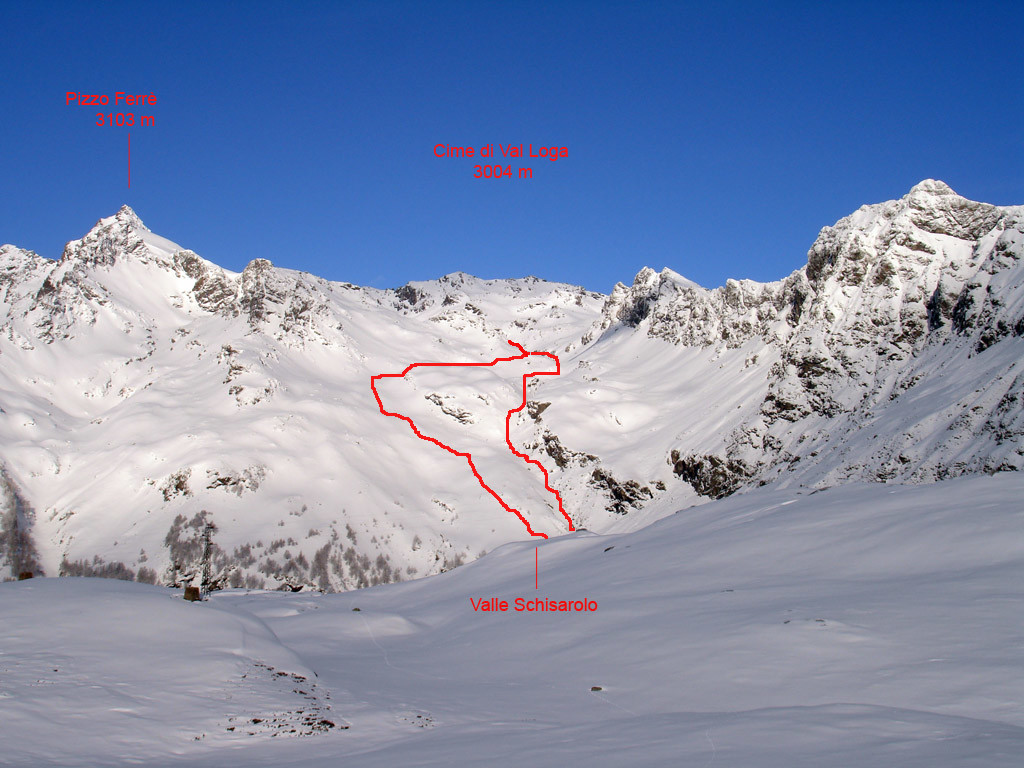 La parte media del tracciato di discesa dalla Valle Schisarolo.