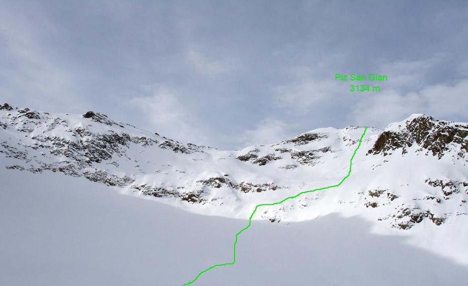 La ripida paretina finale al Piz San Gian 3134 m.