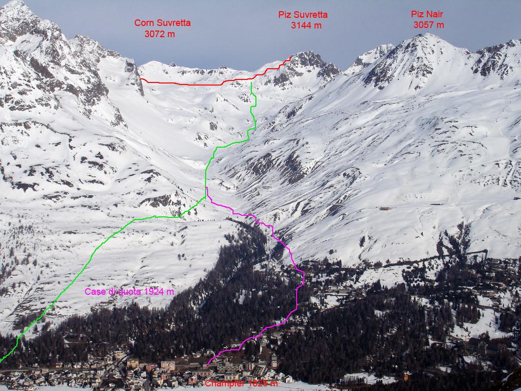 La discesa dalla Valle Suvretta da St. Murazzan, verso Champfèr.
