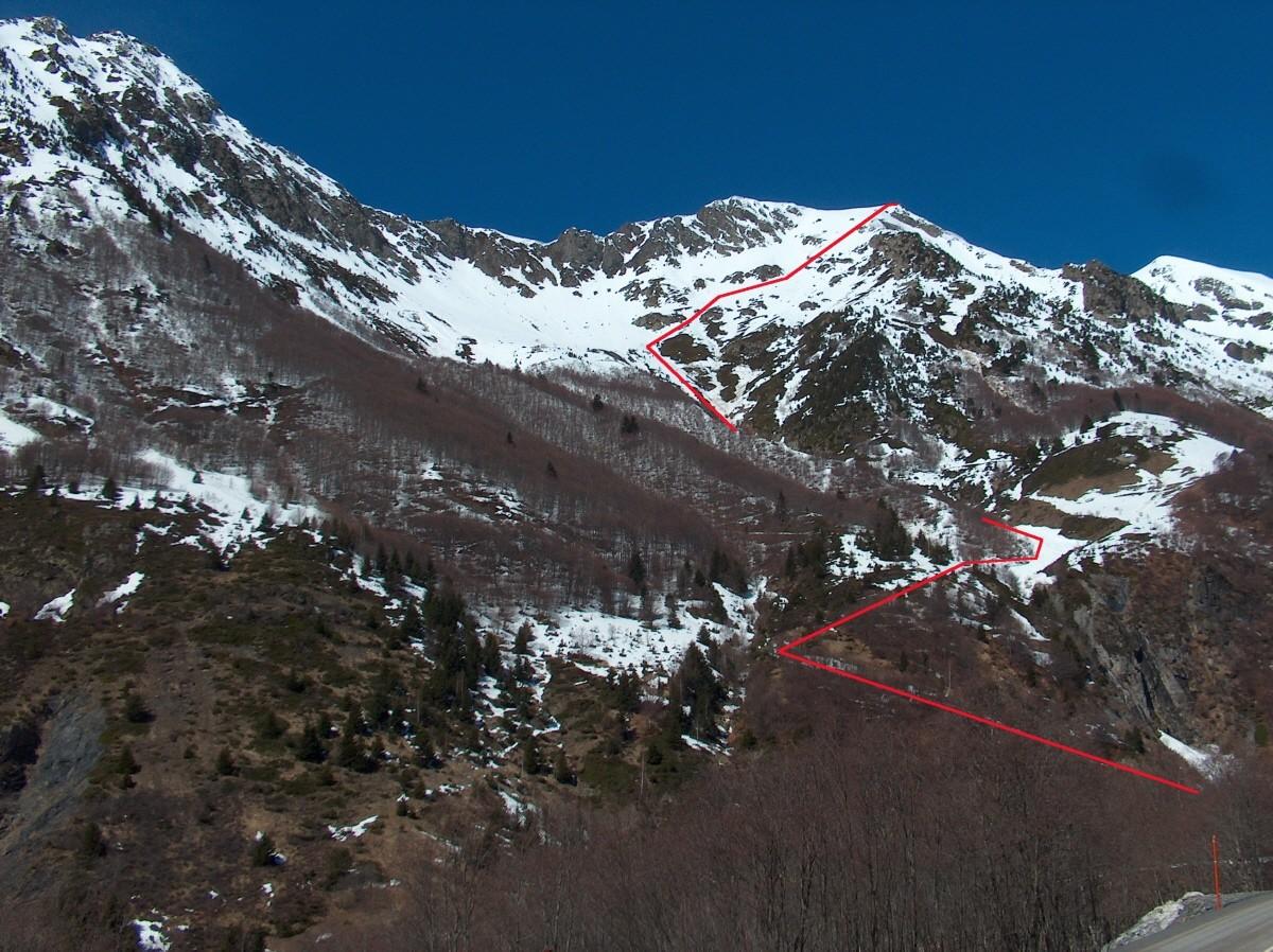 Itinéraire dans la face Est du Pic de Chantelouve.