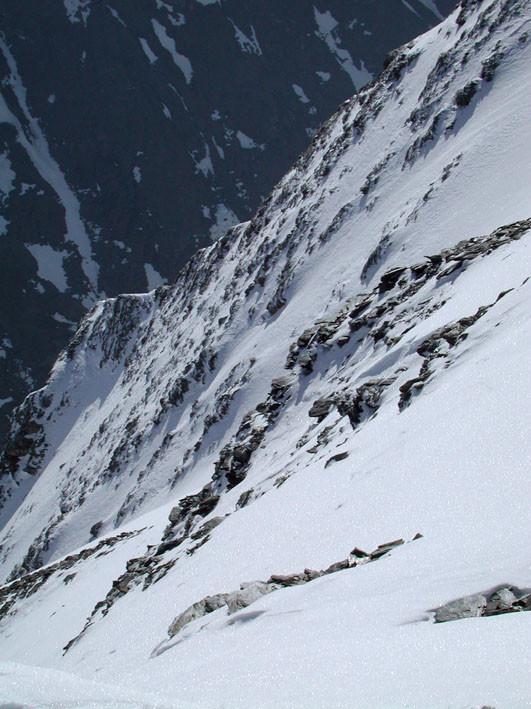 la parte alta della parete vista dalla punta