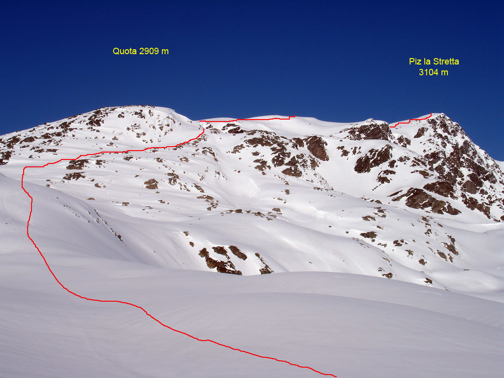 La salita al Piz la Stretta dalla Valle del Monte.