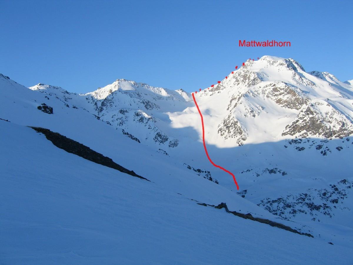 Salita alla Mattawaldhorn vista dalla sella:sulla sinistra il lungo traverso da fare