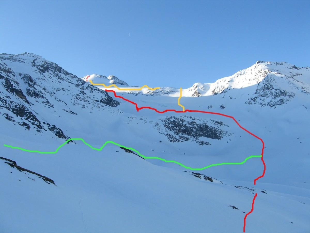La salita, con la variante ripida, vista dal primo salto per superare il ghiacciaio