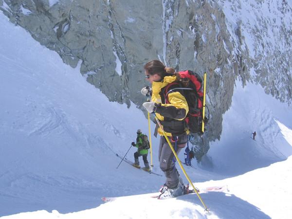 Il canalino di discesa dal Mont Blanc de Cheilon