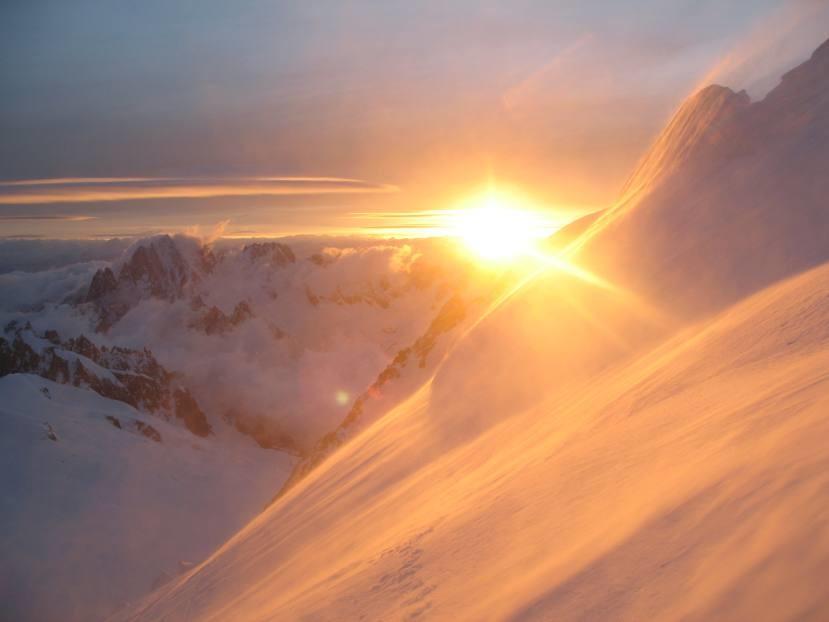 Mont-Blanc du Tacul, lever de soleil