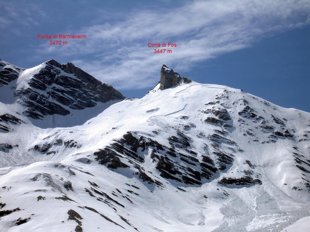 Il versante Nord della Cima di Fos 3447 m vista dal Vallone dell'Ivergnan.