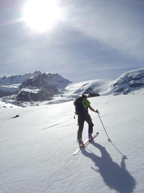 En direction du Rimpfischhorn sur le Längfluegletscher