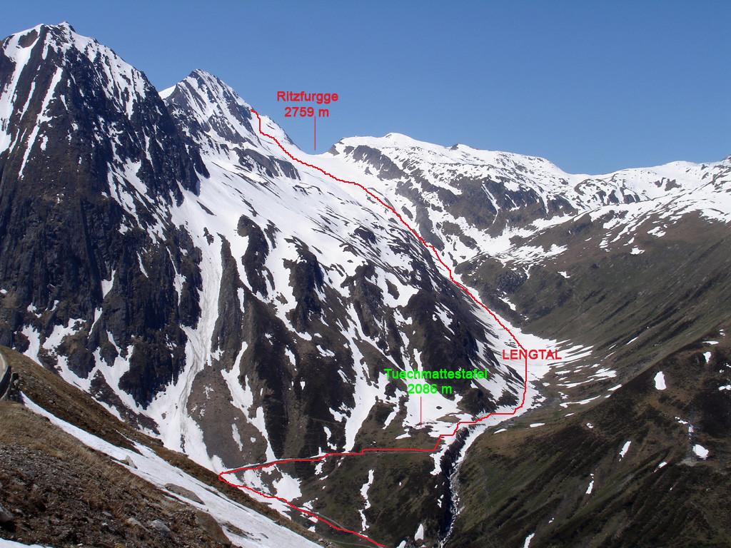 L'itinerario di salita al Ritzhörner 3111 m dalla Lengtal (Vallese).