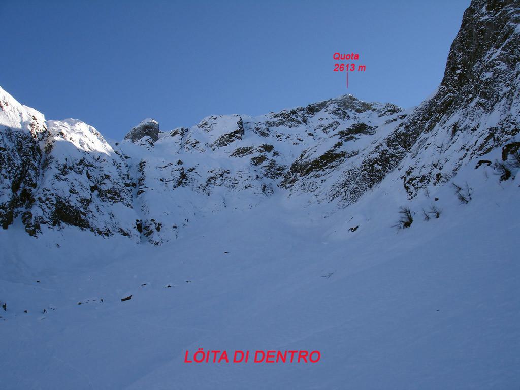 La parte alta  della Löita di Dentro e l'uscita del canale.