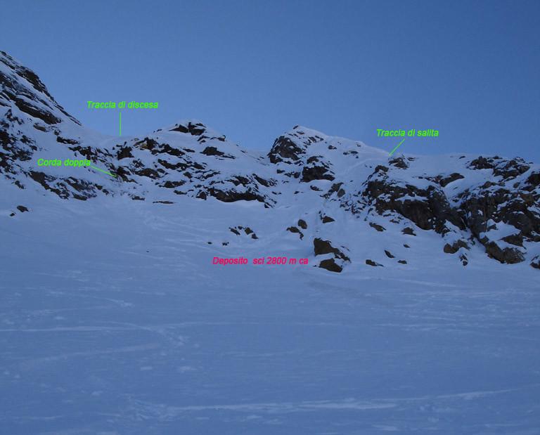Il versante NE del Poncione di Valleggia,con il percorso fatto a piedi per raggiungere la cresta NW.