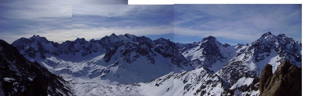 panorama dal Colle Jumelles S vs Ecrins