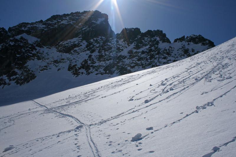 Col Dulong de Rosnay -  en montant sur le glacier de l'Argentière