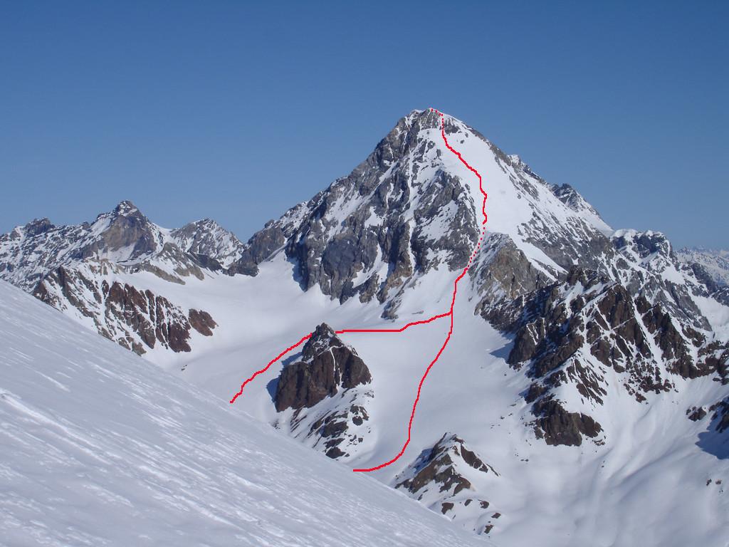 L'itinerario salendo dal rifugio Pizzini 2706 m,al Gran Zebrù o Konig Spitze 3851 m.