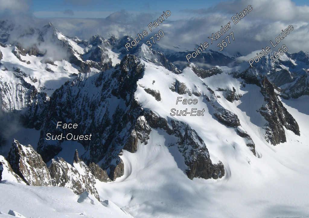 Vue sur l'arête Sud de Roche Faurio