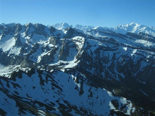 Mont Blanc, Dents Blanches et Pointe Bourdillon depuis le sommet