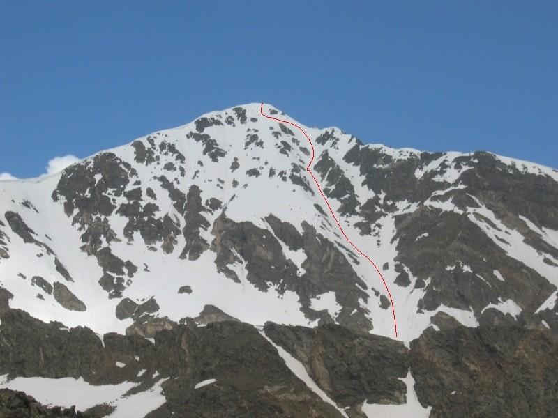 Itinéraire descente couloir NE Torreys Peak