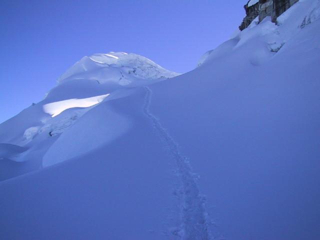 Glacier Vallunaraju - montée vers le col